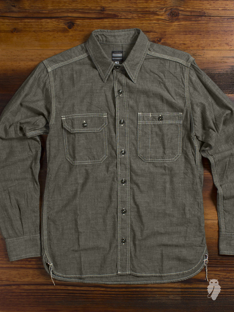 MS033 5oz Selvedge Chambray Work Shirt in Olive