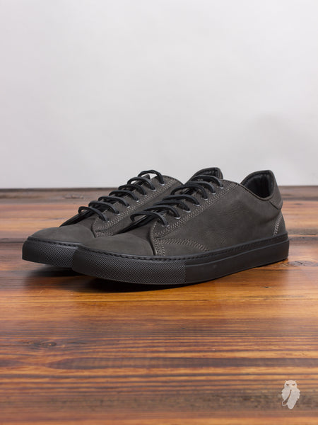 Leather Low-Top Sneaker in Charcoal