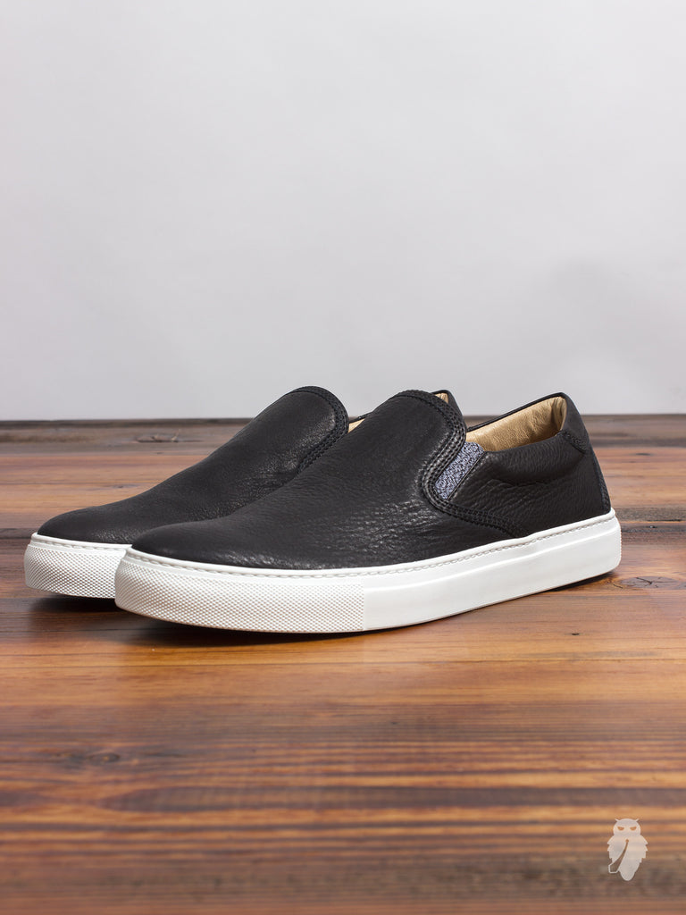 Leather Slip-On Sneaker in Black