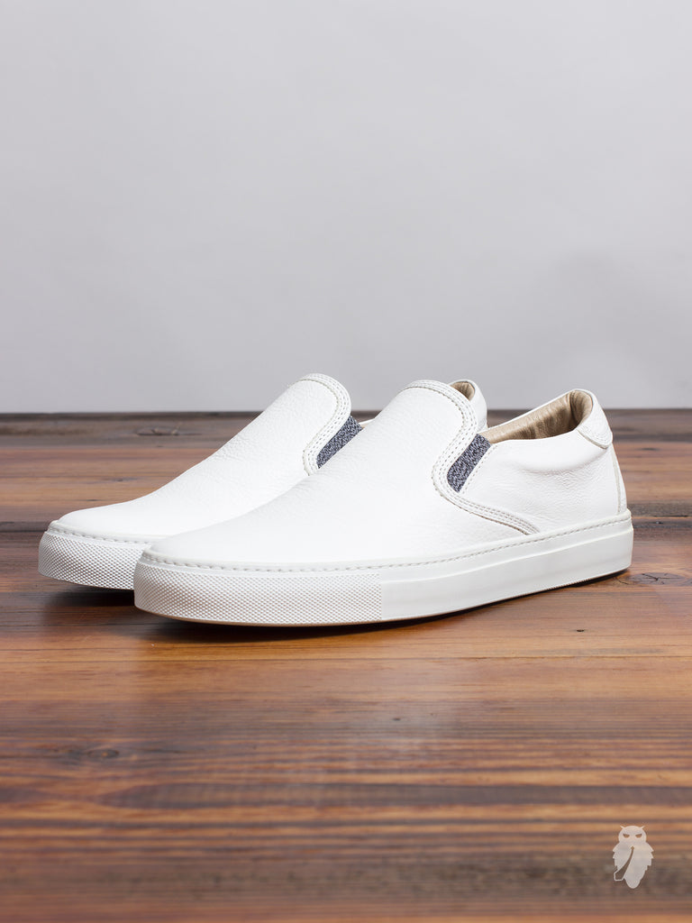 Leather Slip-On Sneaker in White