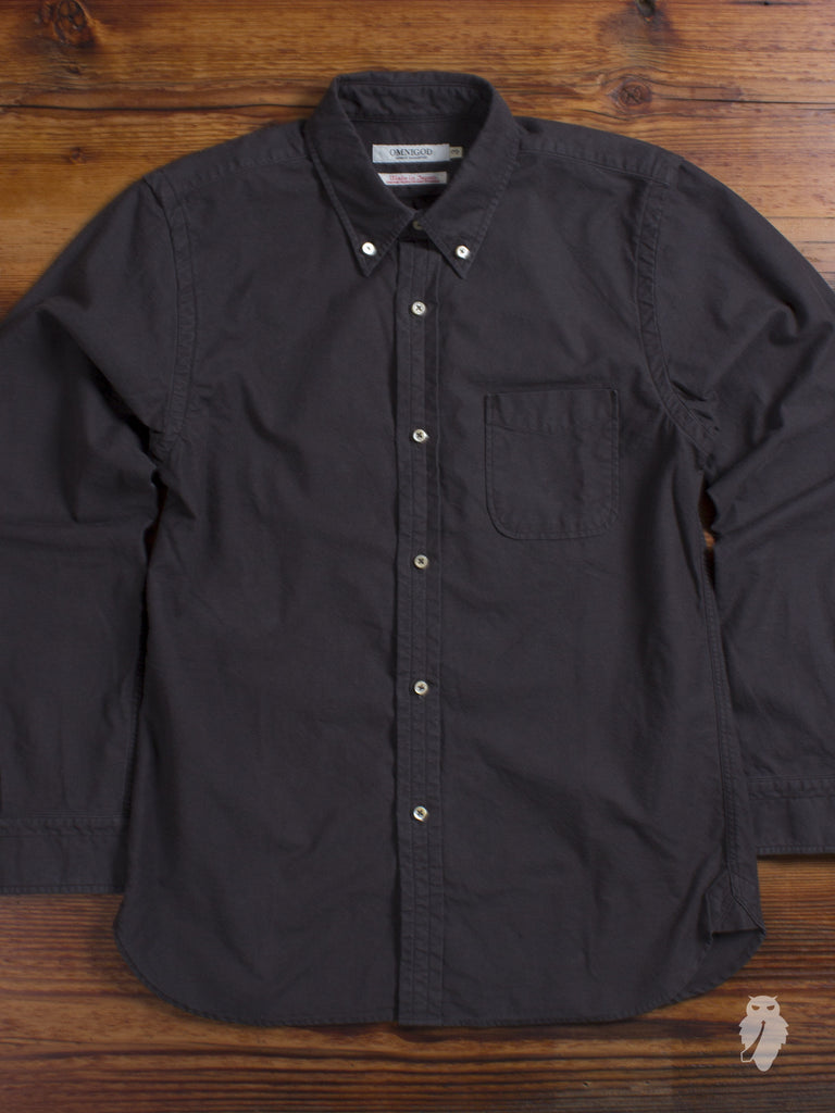 """Nep Twill"" Button Down Shirt in Faded Black"