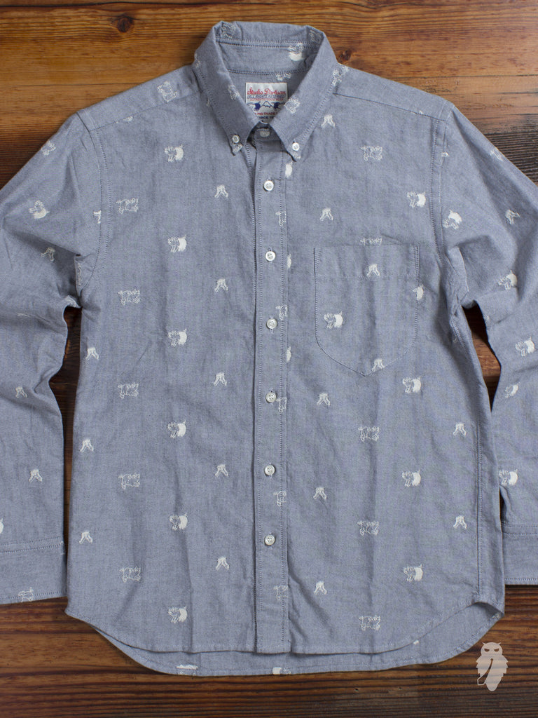 """Buta-Kun"" Embroidery Button Down in Grey"
