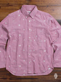"""Buta-Kun"" Embroidery Button Down in Pink"