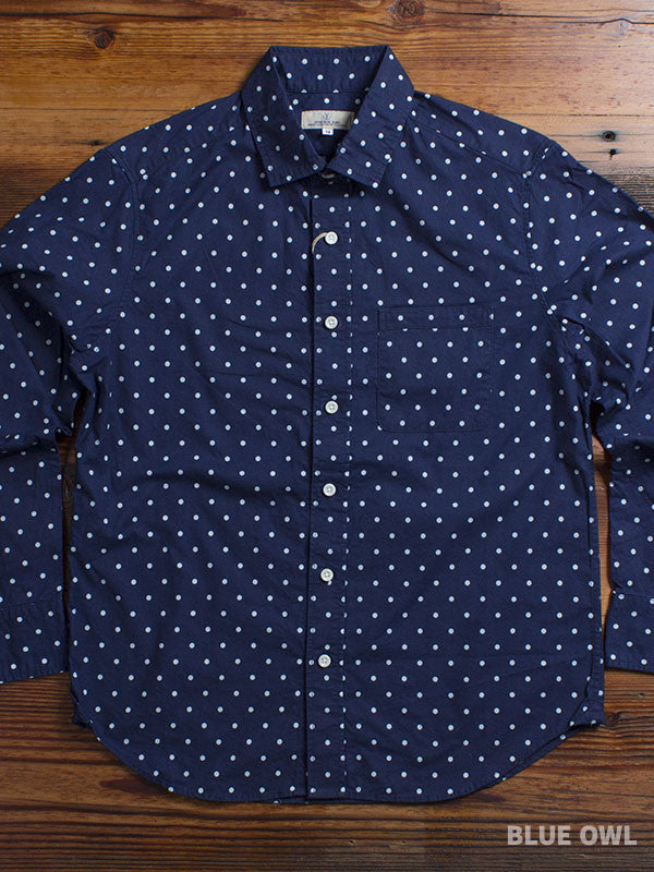 """Indigo Dot"" Button Up Shirt in Indigo"