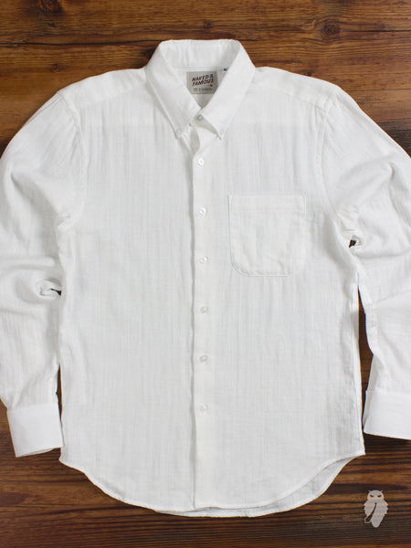 """Slub Double Gauze"" Button Down Shirt in White - Regular Shirt Fit"