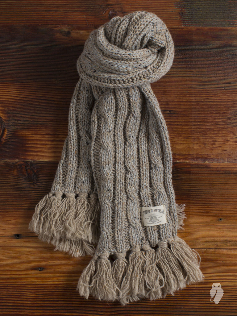 Low Gauge Knit Scarf in Speckled Sand