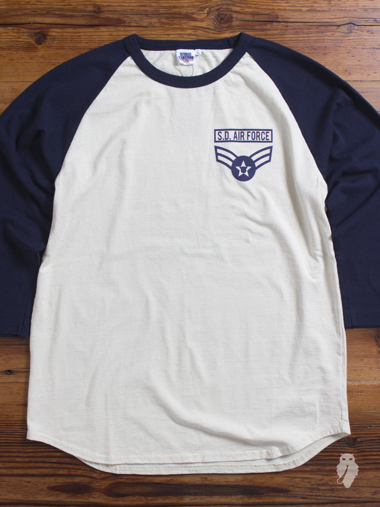 """Military"" Raglan Sleeve T-Shirt in Air Force"
