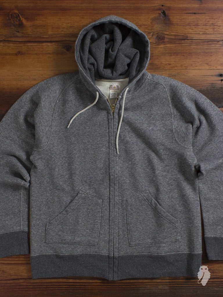 """French Terry"" Zip-up Hoodie in Dark Grey"