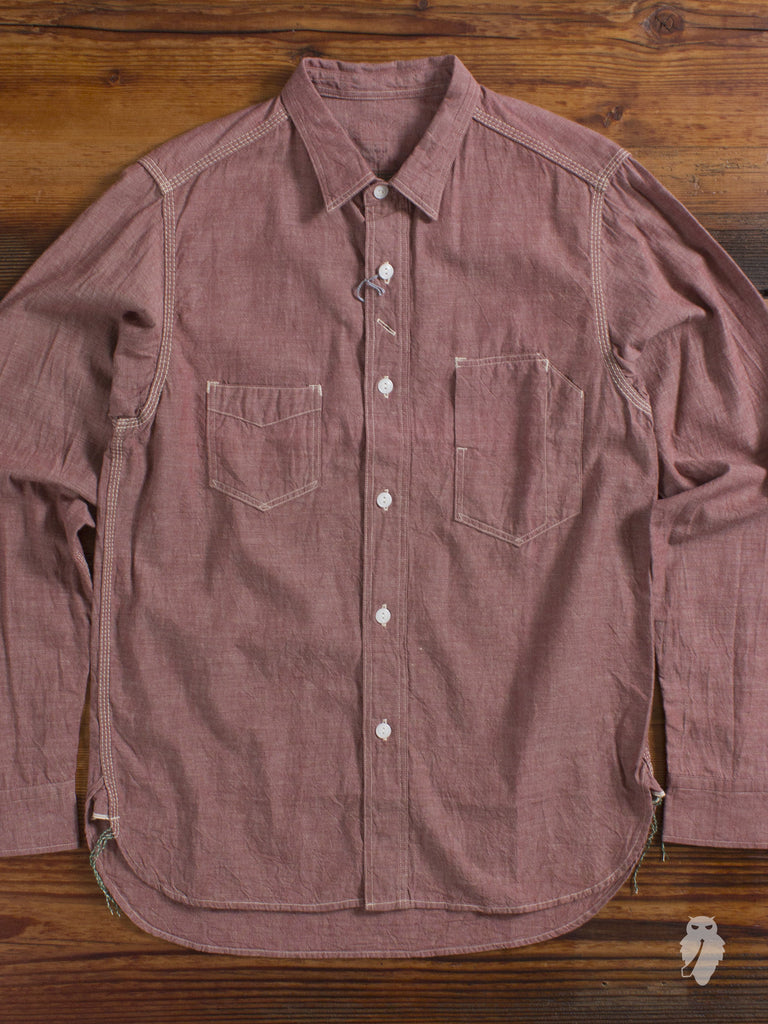"""1940's Railroad"" Selvedge Chambray Work Shirt in Red"