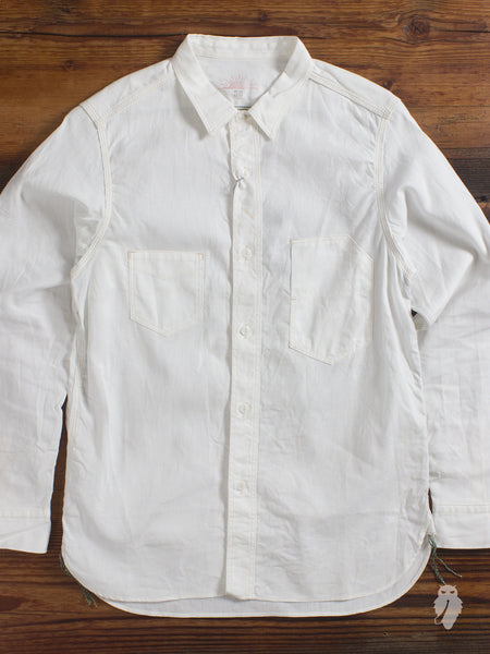 """1940's Railroad"" Selvedge Chambray Work Shirt in White"
