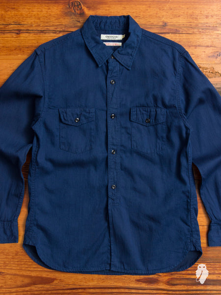 Double Pocket Button Up Shirt in Indigo