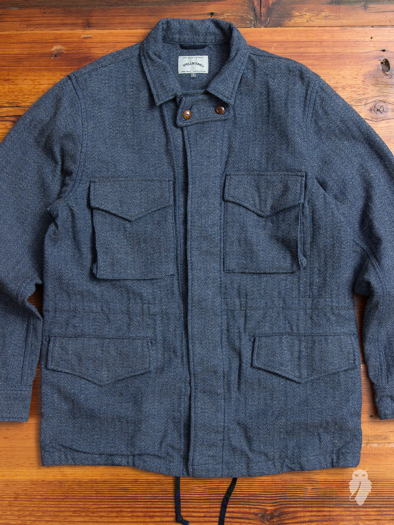 M65 Military Jacket in Indigo Herringbone