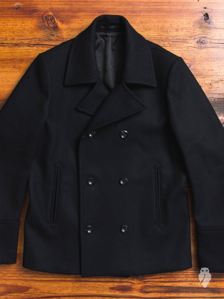 Cashmere Melton Short Peacoat in Black