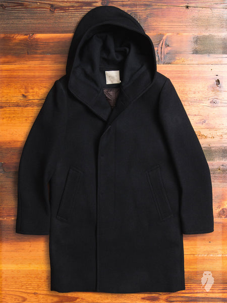 Melton Wool Hooded Parka in Black