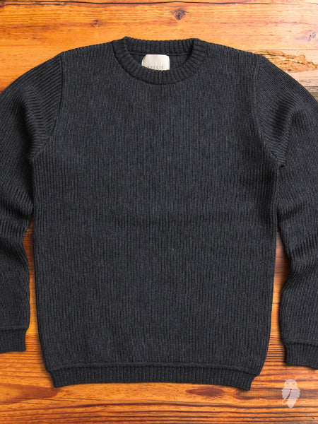 Herringbone Wool Crewneck Sweater in Grey