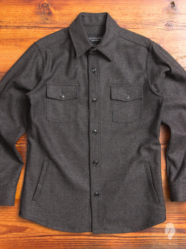 Wool Twill CPO Shirt in Grey