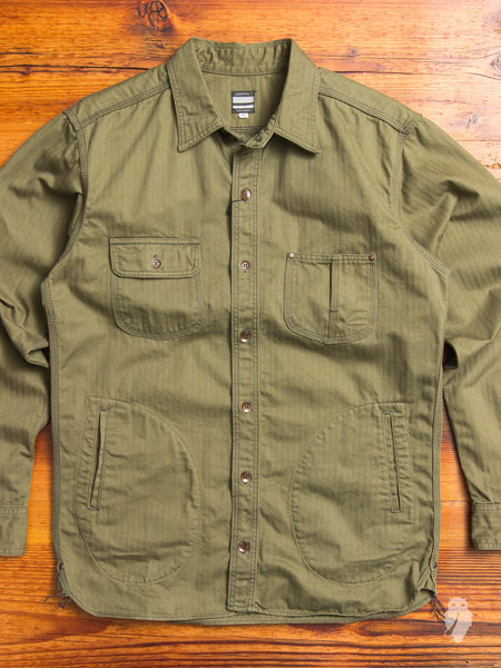 "05-124 ""Crest"" Work Shirt in Olive Herringbone"