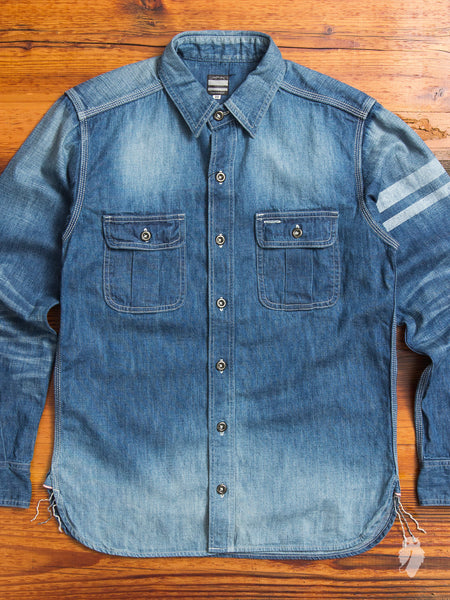 "SJ091D ""Going to Battle"" 7oz Selvedge Denim Work Shirt in Faded Indigo"