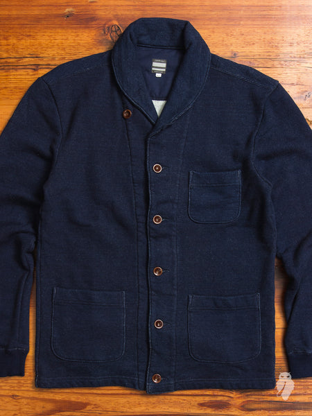 Loopwheel Cardigan in Natural Indigo
