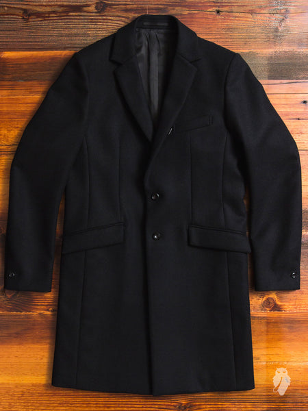 Cashmere Melton Chesterfield Coat in Black
