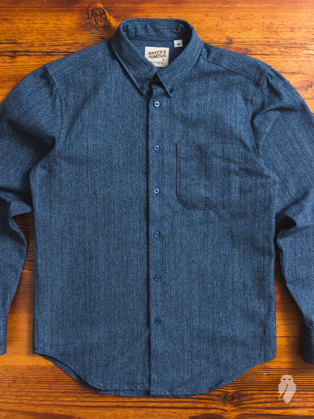 """Hank-Dyed Basket Weave"" Button Down Shirt in Indigo"