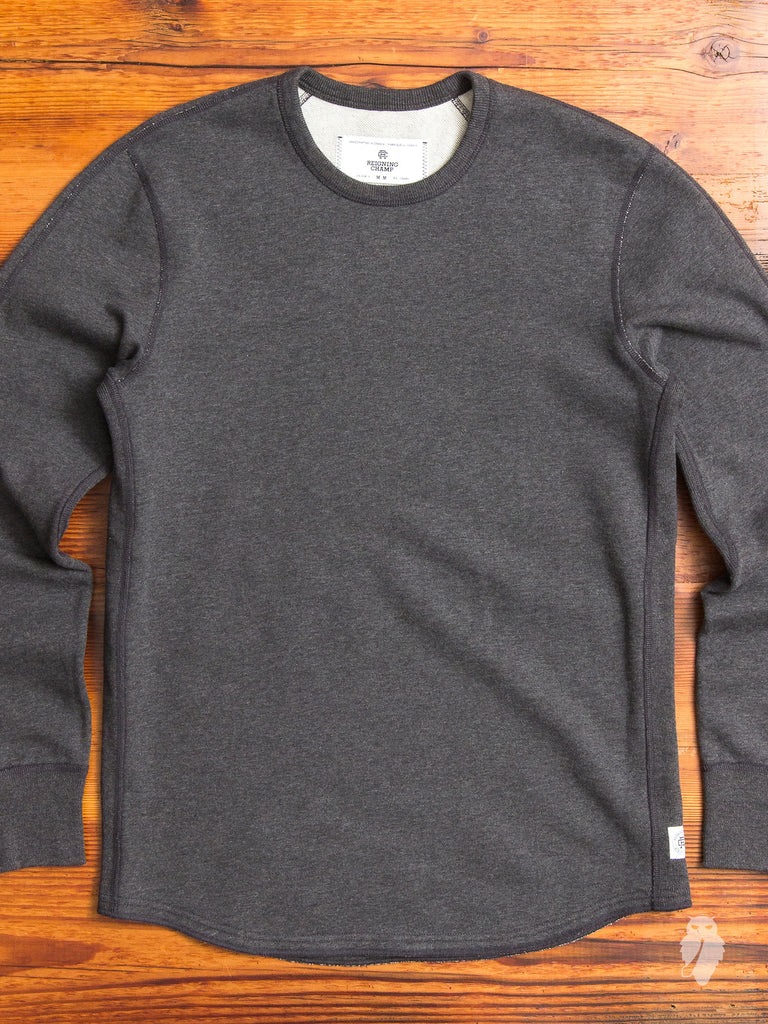 Scalloped Crewneck Sweater in Heather Charcoal