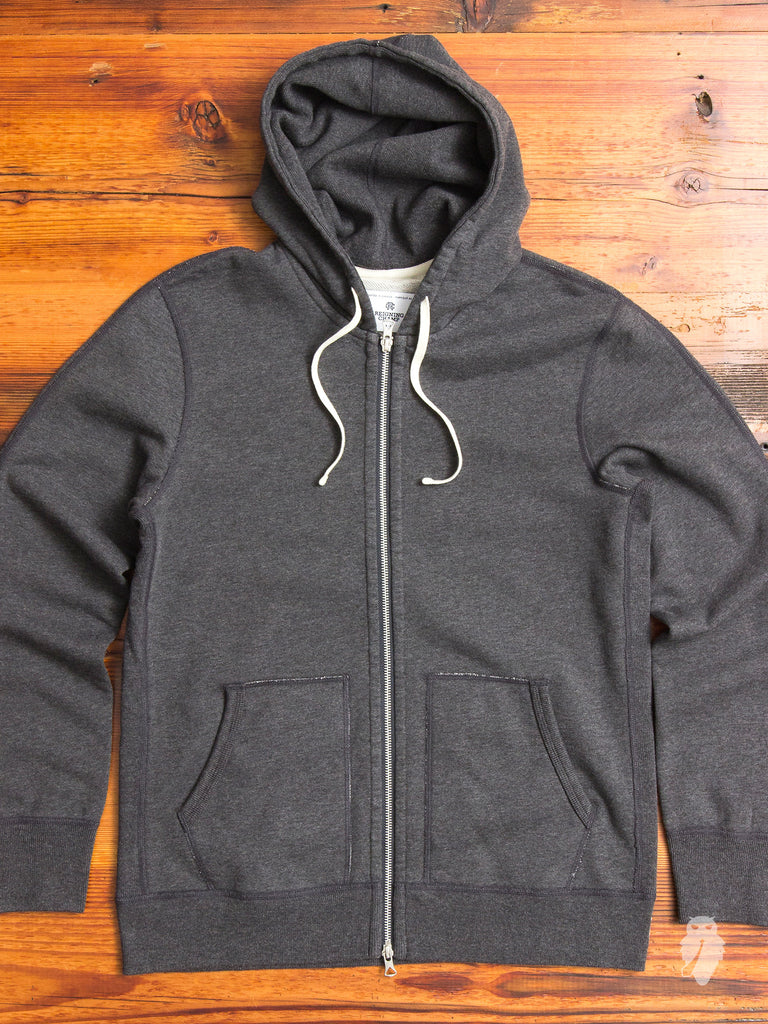 Zip Hoodie in Heather Charcoal