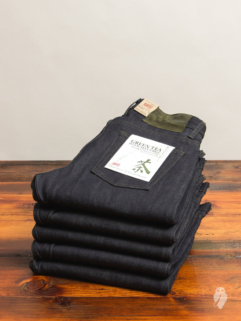 """Green Tea Dyed Selvedge"" 13oz Selvedge Denim - Weird Guy Fit"