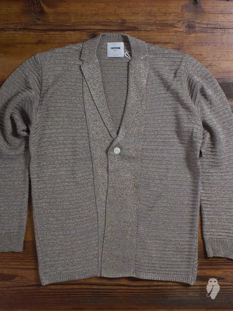 Garter Knit Cardigan in Beige