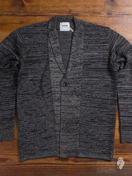 Garter Knit Cardigan in Black