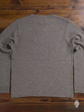 Garter Knit Crewneck Sweater in Beige