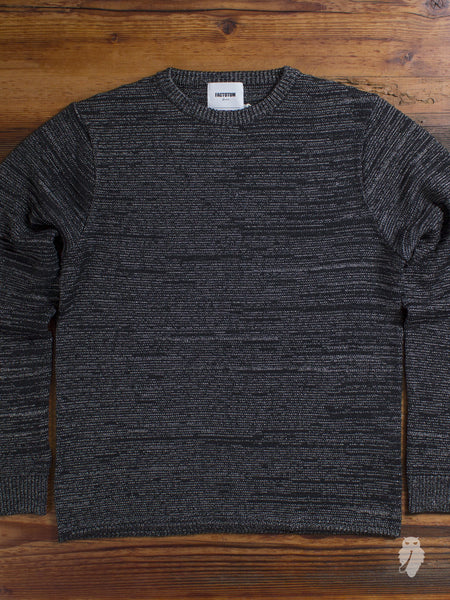 Garter Knit Crewneck Sweater in Black