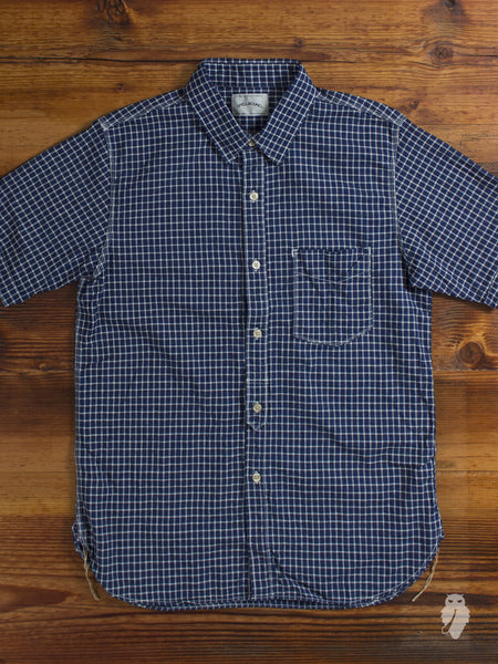 """Spring Check"" Short Sleeve Button Down Shirt in Indigo"