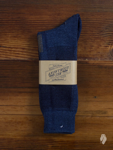 Patchwork Crew Sock in Washed Indigo