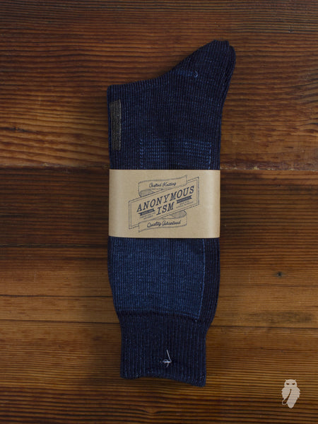 Patchwork Crew Sock in Indigo
