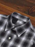 """Ombre Check"" Button Up Shirt in Black"