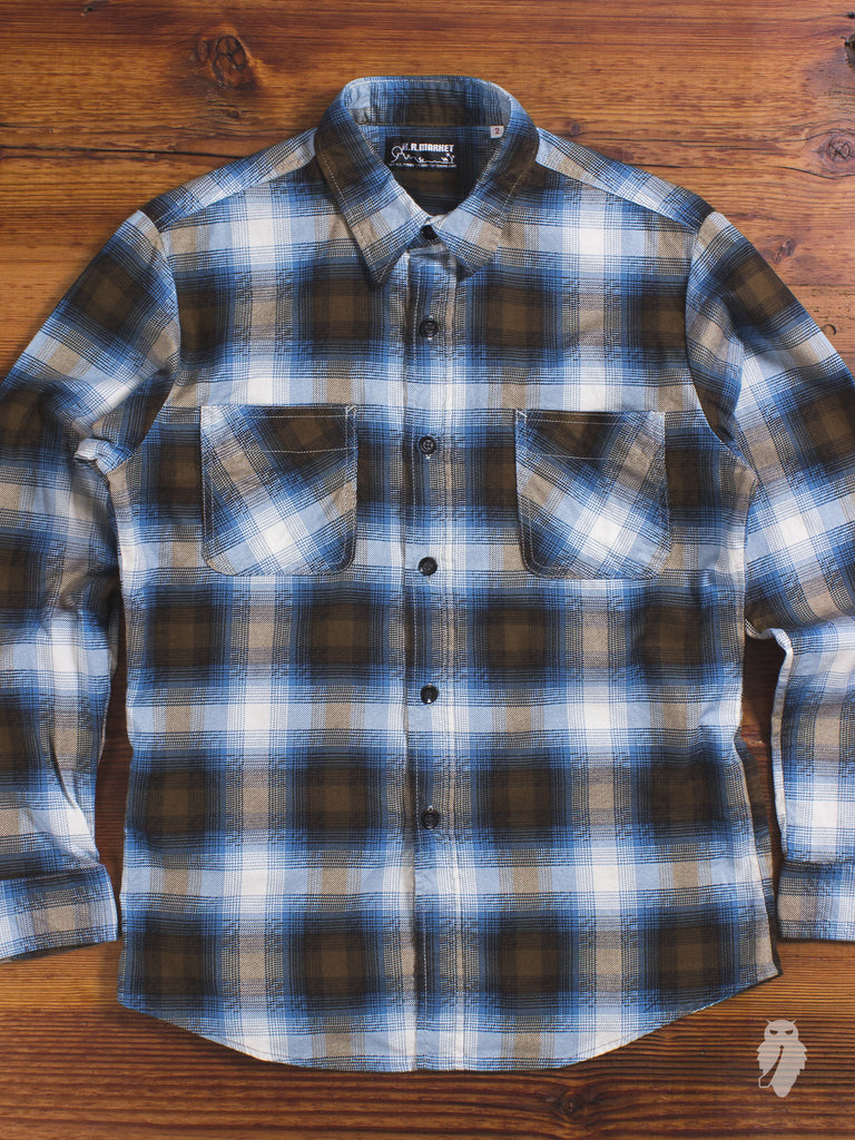 """Hollywood Ranch"" Flannel Shirt in Blue"