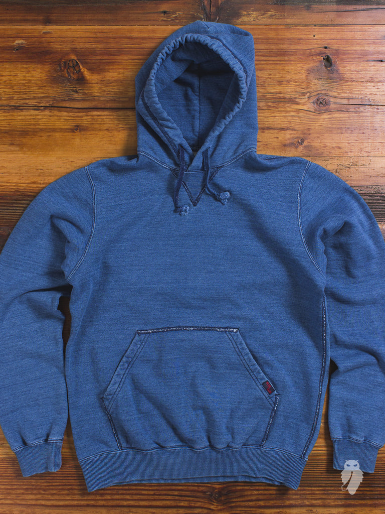Yarn-Dyed Pullover Hoodie in Washed Indigo