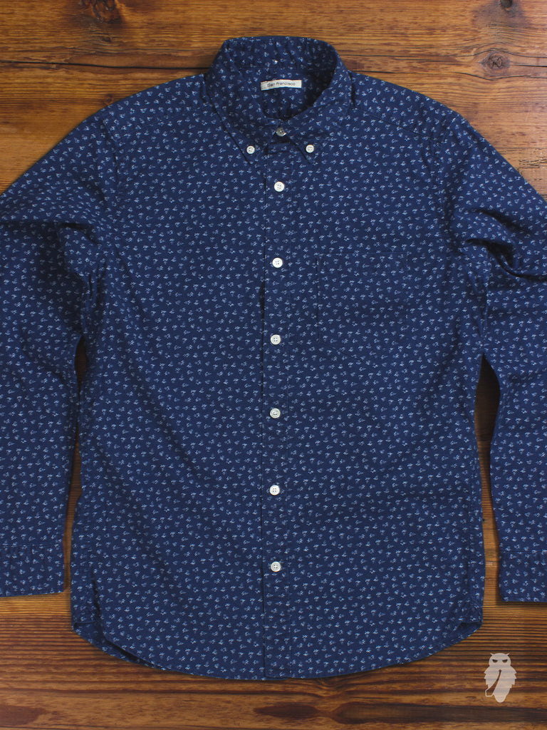 """San Francisco"" Floral Button Down Shirt in Indigo"
