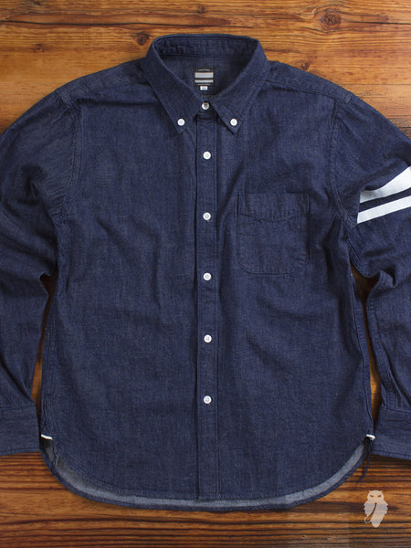 "05-098 ""Going to Battle"" 7oz Selvedge Denim Button Down Shirt in Indigo"