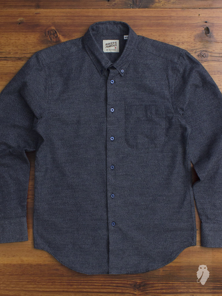"""Shaggy Mixed Twill"" Button Down Shirt in Blue"