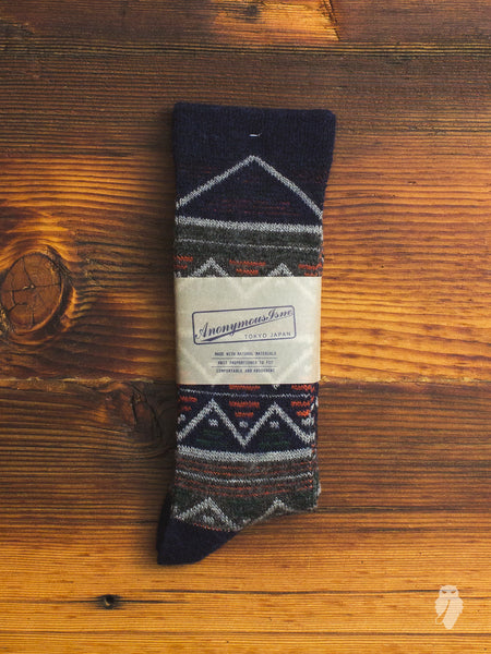 Navajo Crew Sock in Midnight