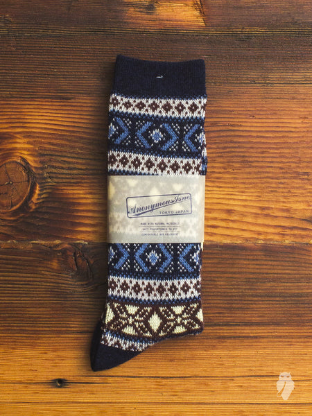Wool Festive Crew Sock in Blue