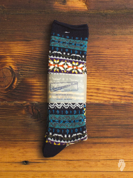 Fair Isle Crew Sock in Midnight