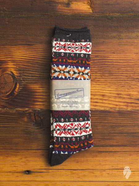 Fair Isle Crew Sock in Charcoal