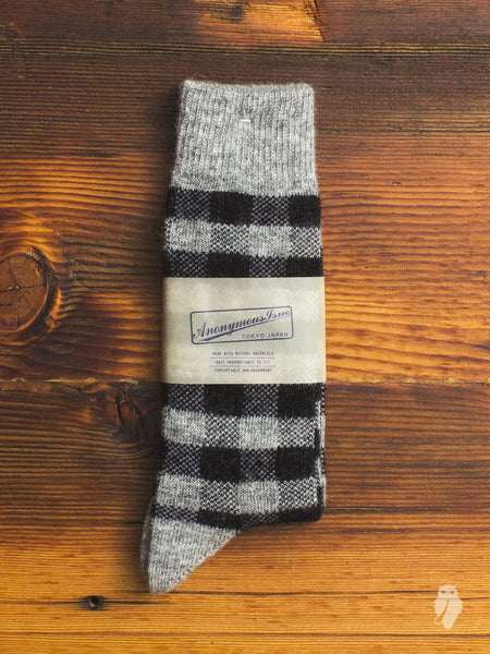 Wool Check Crew Sock in Grey