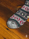 Wool Festive Crew Sock in Grey
