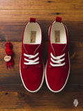 Corgi Low Top Sneaker in Red Suede