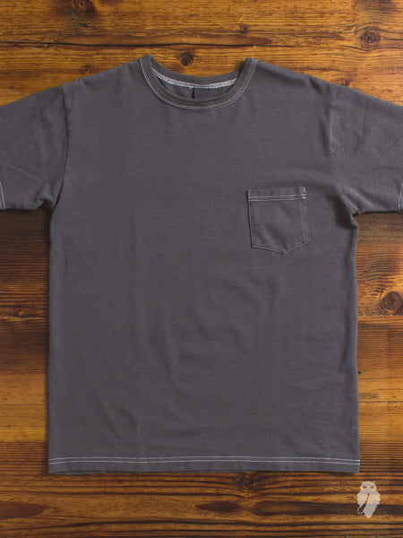 Garment Dyed Pocket T-Shirt in Charcoal