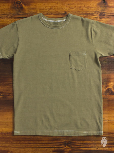 Garment Dyed Pocket T-Shirt in Olive